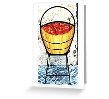 Basket of apples, back-Wrought iron chair painted in acrylic Greeting Card