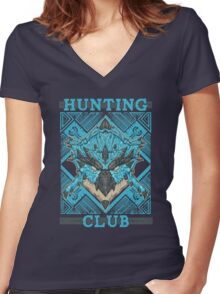 Hunting Club: Azure Rathalos Women's Fitted V-Neck T-Shirt