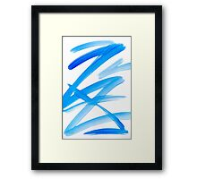 Blue Zig Zag Abstract Framed Print