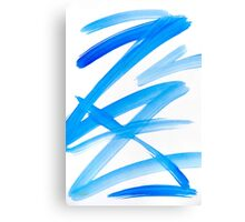 Blue Zig Zag Abstract Art Painting Canvas Print