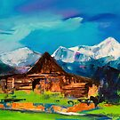 Sunny Day Over Teton Barn by Elise Palmigiani