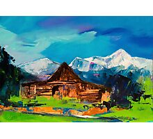 Sunny Day Over Teton Barn Photographic Print