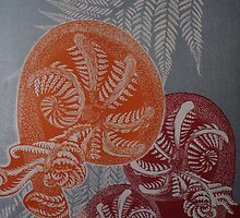 Tree ferns in orange and red. by Bert  Aperloo