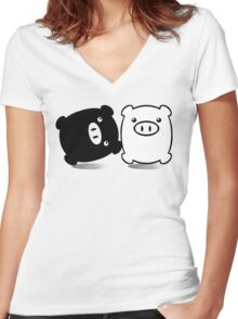 TWINPIGS 1 Women's Fitted V-Neck T-Shirt