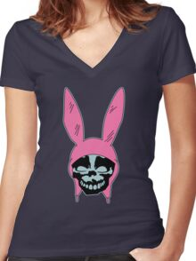 Grey Rabbit/Pink Ears Women's Fitted V-Neck T-Shirt