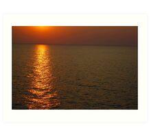 Beautifull sunset in sea Art Print