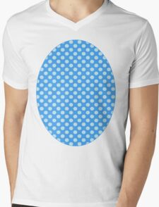 Blue On Blue Polka Dots Mens V-Neck T-Shirt