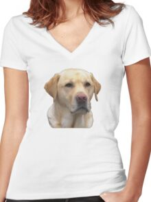 Yellow Lab Faithful Friend Women's Fitted V-Neck T-Shirt