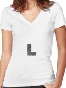 Sketchy Letter Series - Letter L Women's Fitted V-Neck T-Shirt