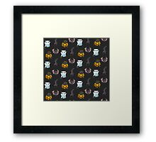 Cute Halloween Cat Kitten Bat Pattern Framed Print