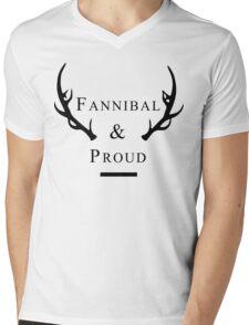 'Fannibal & Proud' (Black Font) Mens V-Neck T-Shirt
