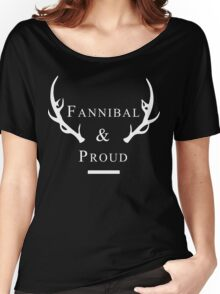 'Fannibal & Proud' (Black Background/White Font) Women's Relaxed Fit T-Shirt