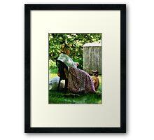 Woman Spinning Wool Framed Print