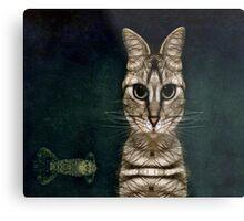 Jules Verne's Cat Metal Print