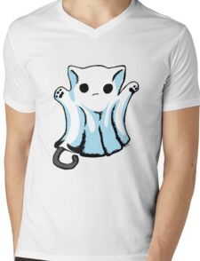 Cute Boo Ghost Cat Halloween Mens V-Neck T-Shirt