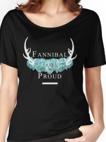 'Fannibal & Proud' w/ Flower (Black Background/White Font) Women's Relaxed Fit T-Shirt