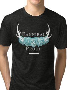 'Fannibal & Proud' w/ Flower (Black Background/White Font) Tri-blend T-Shirt