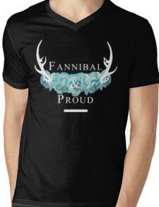 'Fannibal & Proud' w/ Flower (Black Background/White Font) Mens V-Neck T-Shirt