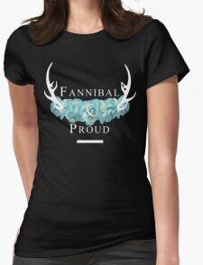 'Fannibal & Proud' w/ Flower (Black Background/White Font) T-Shirt