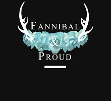 'Fannibal & Proud' w/ Flower (Black Background/White Font) Unisex T-Shirt