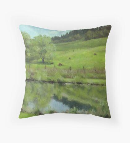 Pond at the Vineyard Throw Pillow