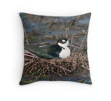 Black-Necked Stilt on Nest Throw Pillow