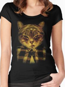 Gangster Cat Women's Fitted Scoop T-Shirt