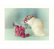 Snoozy always loves his food Art Print