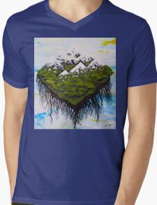 Home, The Floating Land Mass in Space Mens V-Neck T-Shirt
