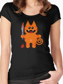 KAT 2 (Cute pet with a sharp knife!) Women's Fitted Scoop T-Shirt