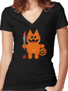 KAT 2 (Cute pet with a sharp knife!) Women's Fitted V-Neck T-Shirt