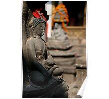 Marigolds and Buddha Poster