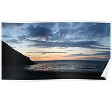 Wide Angle Cwmtydu Sunset Poster