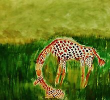 Mother and baby Girraffe, watercolor by Anna  Lewis, blind artist
