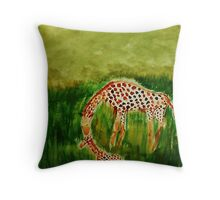 Mother and baby Girraffe, watercolor Throw Pillow