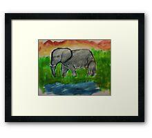 Elephant, watercolor Framed Print