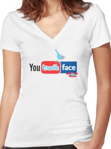 You Twit Face Women's Fitted V-Neck T-Shirt