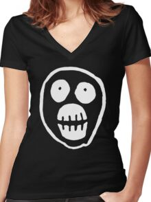 The Mighty Boosh – Big Mask (White) Women's Fitted V-Neck T-Shirt