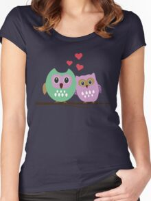 Owl couple Women's Fitted Scoop T-Shirt