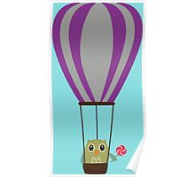 Owl in hot-air balloon with a lollipop Poster