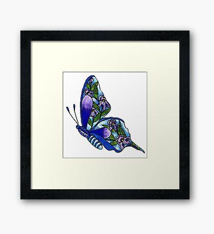 Iris Butterfly Illustration Framed Print