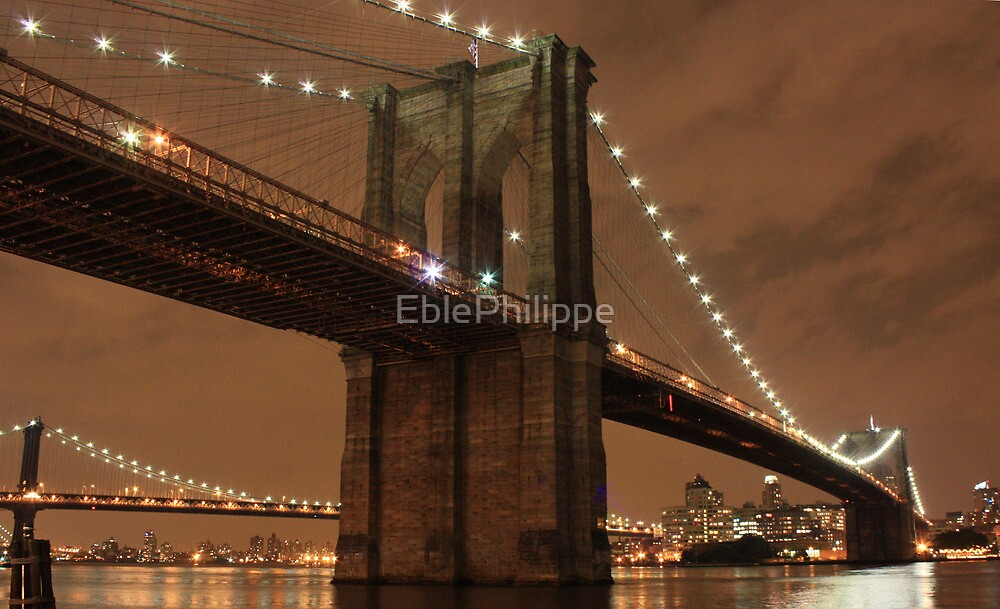 New York Brooklyn bridge by night by EblePhilippe
