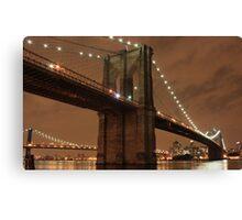 New York Brooklyn bridge by night Canvas Print