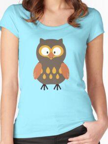Brown Pumpkin Owl Women's Fitted Scoop T-Shirt