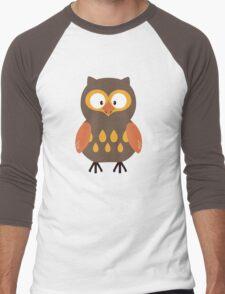 Brown Pumpkin Owl Men's Baseball ¾ T-Shirt