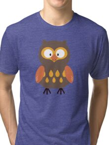 Brown Pumpkin Owl Tri-blend T-Shirt