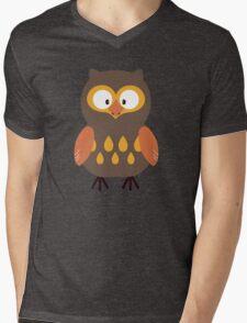 Brown Pumpkin Owl Mens V-Neck T-Shirt