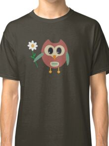Coloured owl with a flower Classic T-Shirt