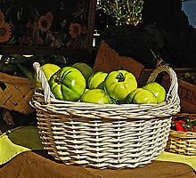 Green Tomatoes in Basket by Randy Shannon