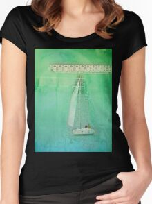 White Sail Boat Plus Green Blue Texture Women's Fitted Scoop T-Shirt